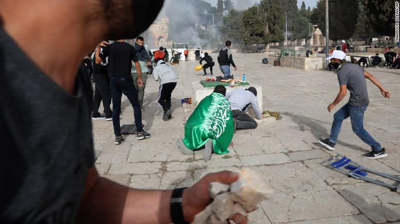 Hundreds of Palestinians were injured in the clashes with Israeli police Monday.