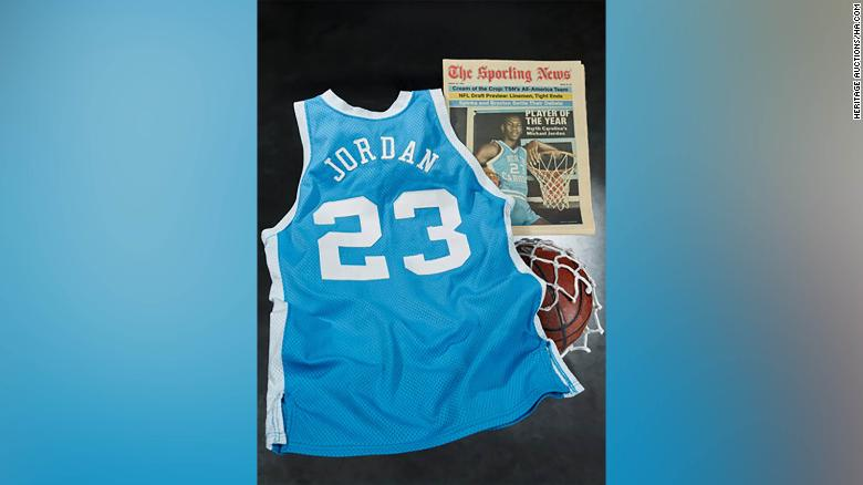 Michael Jordan's game-worn North Carolina jersey sold for record $1.38 million