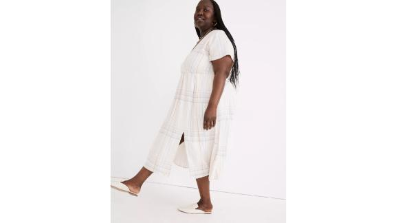 Plus Linen-Blend Clara Midi Dress in Plaid