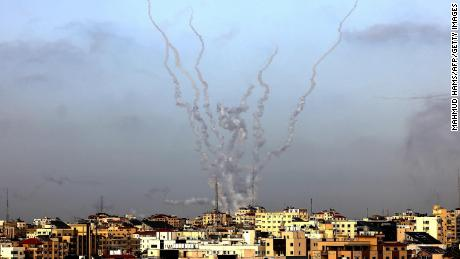 Rockets are fired from Gaza City towards Israel on May 10, 2021. (Photo by MAHMUD HAMS / AFP) (Photo by MAHMUD HAMS/AFP via Getty Images)