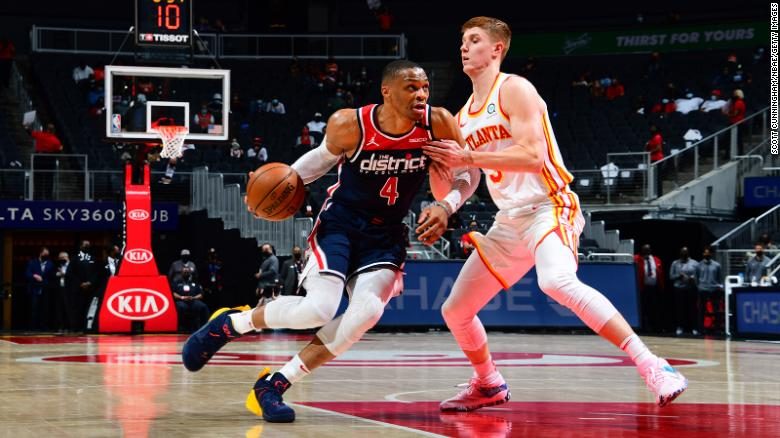 Russell Westbrook drives to the basket during the Washington Wizards' game against the Atlanta Hawks on May 10, 2021, at State Farm Arena in Atlanta.