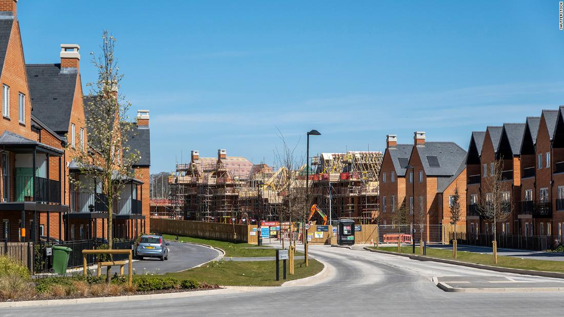 New housing north of Winchester, England. UK house prices surged 8.5% in 2020, the fastest annual growth rate since 2014.
