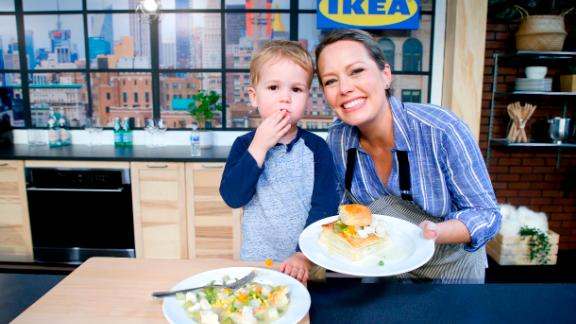 NEW YORK, NEW YORK - OCTOBER 13: Dylan Dreyer (R) and son Calvin Bradley Fichera pose onstage for a culinary demonstration during the Grand Tasting presented by ShopRite featuring Culinary Demonstrations at The IKEA Kitchen presented by Capital One at Pier 94 on October 13, 2019 in New York City. (Photo by John Lamparski/Getty Images for NYCWFF)