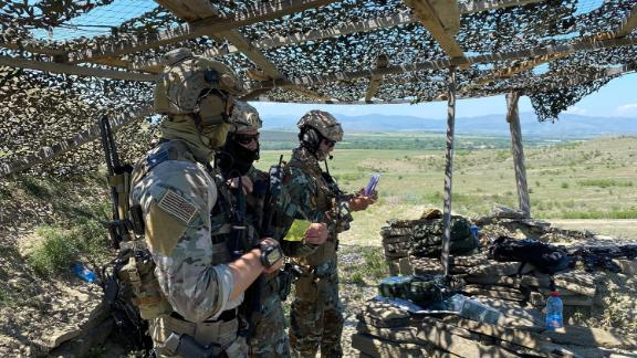An American special tactics officer teaches Macedonian forces to call in airstrikes in North Macedonia.