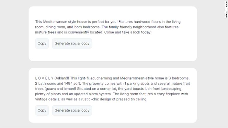 Listing AI generates home descriptions using facts typed in by a user and the AI model GPT-3.