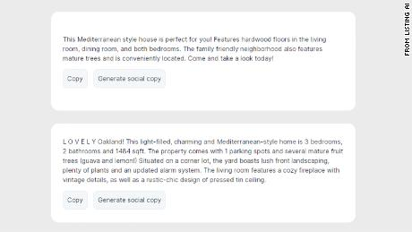 Listing AI generates house descriptions using facts entered by a user and the GPT-3 AI model.