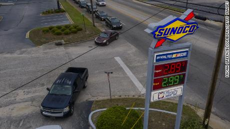 The average price of a gallon of gas was $ 3 this week.