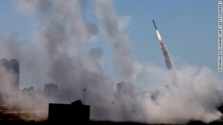 Israel's Iron Dome aerial defence system is activated to intercept a rocket launched from the Gaza Strip, controlled by the Palestinian Hamas movement, above the southern Israeli city of Ashdod, on May 12.