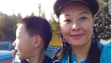 Dai Xiao Lei and her son in Beijing, China.