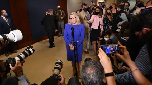 US Representative Liz Cheney, Republican of Wyoming, speaks to the press at the US Capitol in Washington, DC, on May 12, 2021. - House Republicans voted Wednesday to oust anti-Trump conservative Cheney from her leadership role confirming that the party out of power in Washington is casting its lot with the former US President. (Photo by MANDEL NGAN / AFP) (Photo by MANDEL NGAN/AFP via Getty Images)