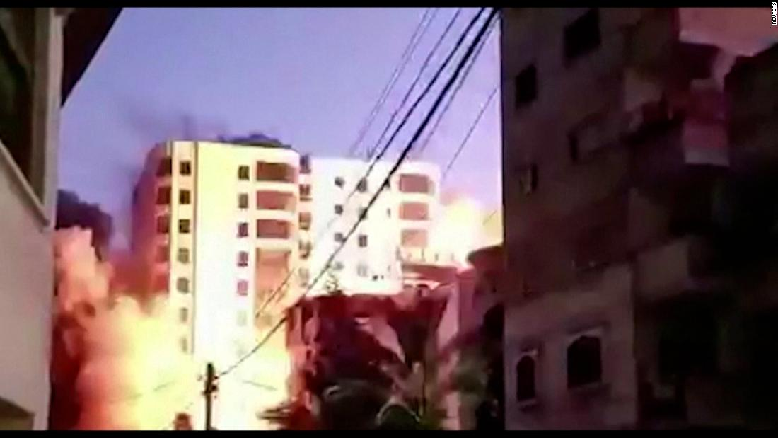 Video shows 13-story tower collapse in Gaza following Israeli airstrikes