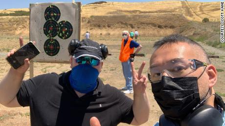 AAPI GO co-founder Scott Kane (left) and member Philip Pang (right) pose for a picture at the Livermore Pleasanton Rod & Gun Club in Livermore, California, in this undated photo.
