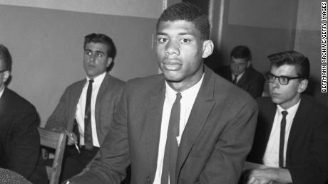 A young Abdul-Jabbar -- born Lew Alcindor -- sits in his Russian History class at Power Memorial Academy.