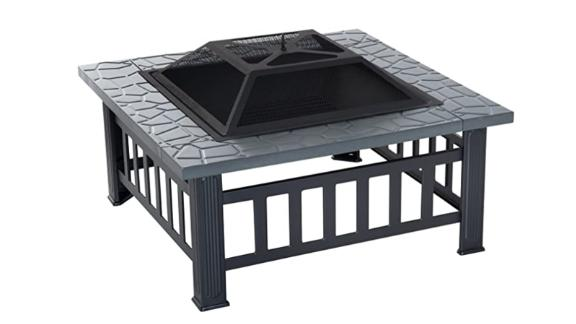Outsunny 33-Inch Outdoor Square Fire Pit