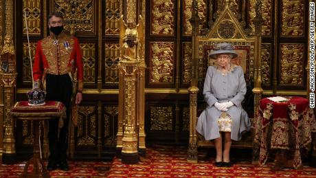 On the Queen's right is the Imperial State Crown.