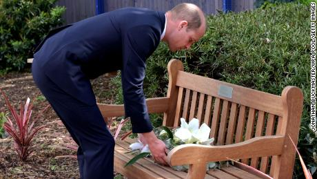The Duke of Cambridge lays a wreath on the bench dedicated to Sergeant Ratana.