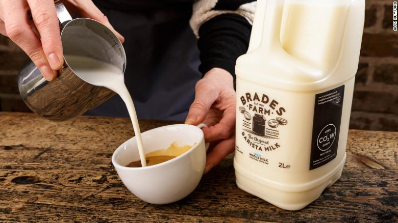 """Brades Farm brands itself as climate-friendly, with """"less cow burps"""" emblazoned on its cartons."""
