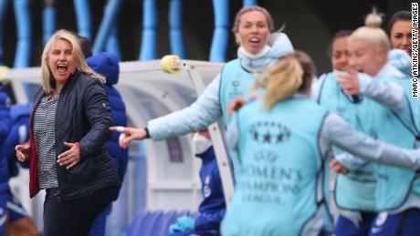 Chelsea manager Emma Hayes celebrates during the UEFA Women's Champions League semifinals.