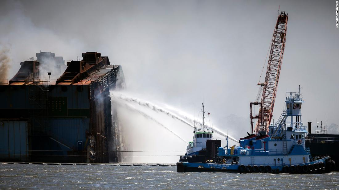 Seawater being used to put out fire on cargo ship wreckage near Georgia