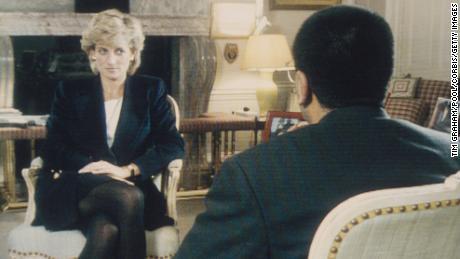 "Martin Bashir interviews Princess Diana in Kensington Palace for the BBC television program ""Panorama"" in 1995."