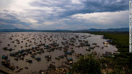 Fishing boats anchored near Uttan village ahead of the expected arrival of Cyclone Tauktae on May 16,  in Mumbai, India.