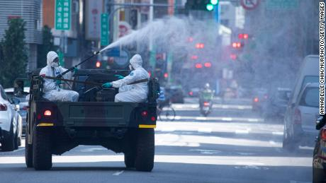 The disinfectant was sprayed on the street in Wanhua District, Taipei, Taiwan on May 16, 2021.
