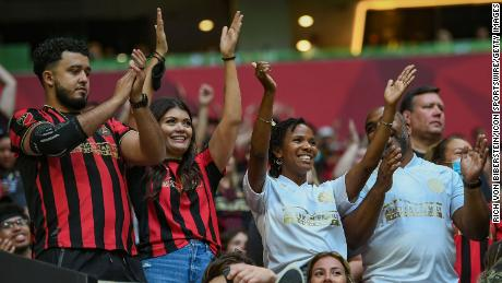 Fans return without masks as Atlanta opens the match to everyone during the MLS match between CF Montreal and Atlanta United FC on May 15 at the Mercedes-Benz Stadium.