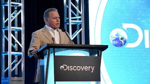 PASADENA, CALIFORNIA - JANUARY 16: President and CEO, Discovery, Inc. David Zaslav speaks onstage during the Discovery, Inc. TCA Winter Panel 2020 at The Langham Huntington, Pasadena on January 16, 2020 in Pasadena, California. (Photo by Amanda Edwards/Getty Images for Discovery, Inc.)