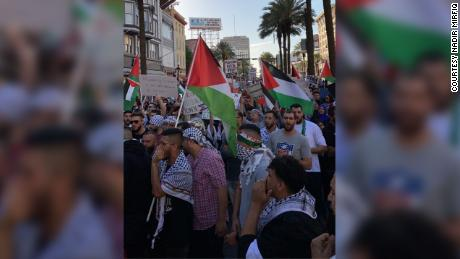 The crowd at a pro-Palestinian rally fills the streets in New Orleans on May 15.