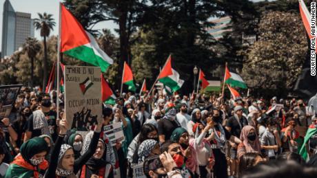 Demonstrators gather at a downtown Sacramento pro-Palestinian rally on Sunday, May 16.