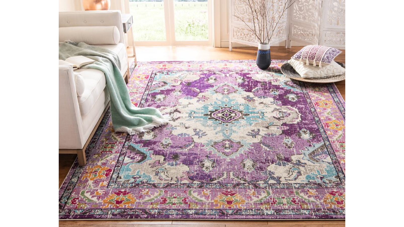 CITY RUGS 56 Blue Pink Cream Beige Floor Designer Mat Carpet 4 SIZES