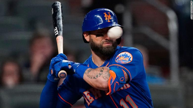 New York Mets baseball player says he's doing fine after getting hit in the face by a 94 mph fastball
