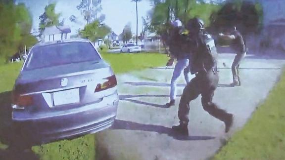 This still taken from bodycam footage released at a morning news conference on May 18 by the Pasquotank County District Attorney, Andrew Womble, shows the attempted arrest in which Andrew Brown Jr. was killed. District Attorney Womble said Andrew Brown was inside the car on the left.