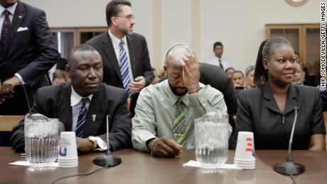 The parents of Trayvon Martin, Tracy Martin, center, and Sybrina Fulton, with Crump at a House Judiciary Committee briefing in Washington on March 27, 2012.
