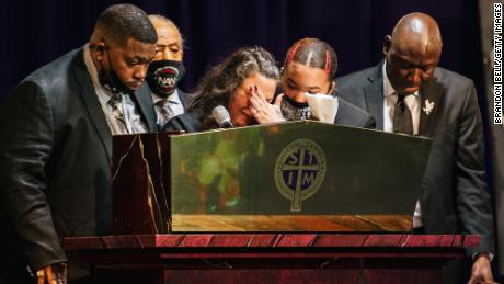 The family of Daunte Wright, the Rev. Al Sharpton and Crump give remarks during Daunte Wright's funeral at the Shiloh Temple International Ministries church in Minneapolis on April 22, 2021.