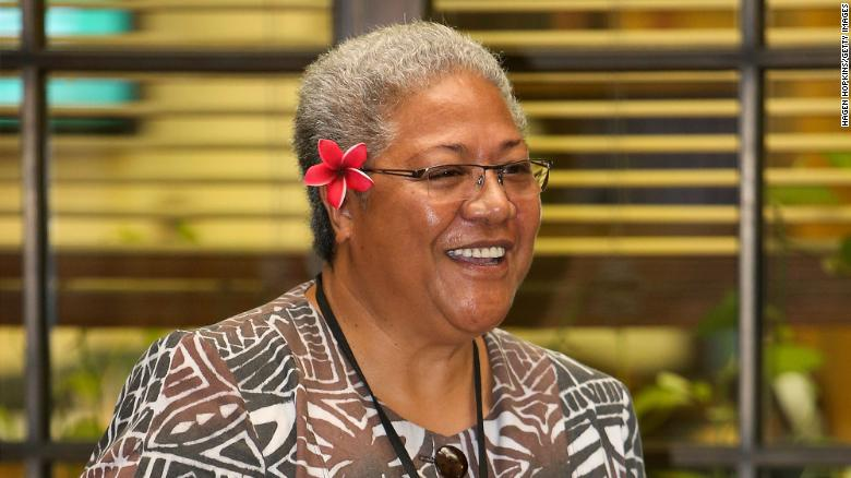 Pacific island swears in its first female PM in a tent after she is locked out of Parliament