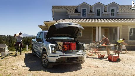 Ford boasts that the F-150 Lightning has the largest frunk -- or front trunk -- in the industry, complete with plugs for electrical equipment.