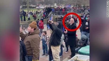 Texas state Rep. Kyle Biedermann, seen here on the Capitol steps in a screenshot from a Parler video via ProPublica, has introduced legislation paving the way for Texas to secede.