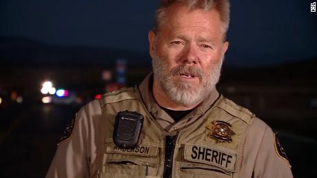 Juab County Sheriff Doug Anderson speaks to media following a police chase and shootout Wednesday.