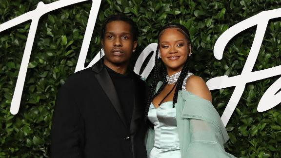 A$AP Rocky and Rihanna pictured together in London in December 2019.