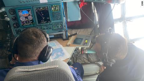 Inside the navigator's area of the Ilyushin Il-76 cargo plane.