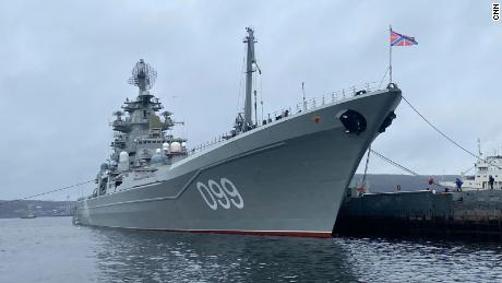 Russian battlecruiser Peter the Great is photographed docked in Severomorsk.