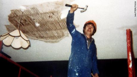 Fred West is seen working on the renovation of a home for autistic adults in Nailsworth, Gloucestershire.