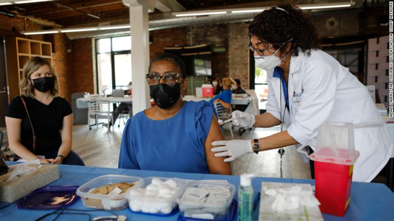 """Several Short North Arts District restaurants in Columbus, Ohio, offered discounts or free menu items for those who showed their vaccination card from the """"Vax and Relax"""" event on Thursday."""