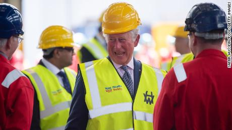 Prince Charles visits the Harland & Wolff shipyard in Belfast on May 18.