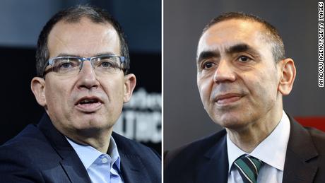 Moderna CEO Stéphane Bancel, left, and BioNTech CEO Ugur Sahin.