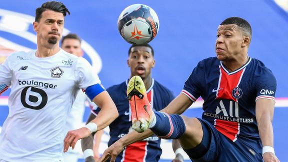 Jose Fonte battles with PSG star Kylian Mbappe during April's crucial 1-0 win.