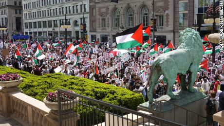 Hundreds of people marched in Chicago last weekend to protest the conflict in Gaza.