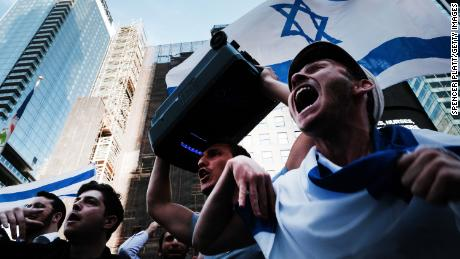 Supporters of Israel gathered at New York's Times Square on Thursday.