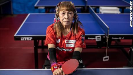 HYOGO, JAPAN - APRIL  22: Kimie Bessho, 73, the table tennis Paralympian, is photographed in Hyogo, Japan, on Apr 22, 2021. Bessho is known as the butterfly lady as she wears colorful clips in her hair.